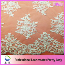 Evening dress making material beaded embroidered lace fabric/white sequin beaded bridal lace