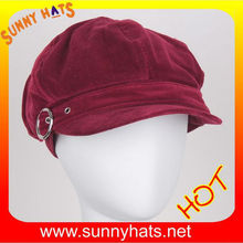 Alibaba Wholesale Wine Red Brushed Cotton Cap And Hat