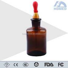 Amber Glass Dropping Bottle with Ground-in Pipette and Latex Rubber Nipple