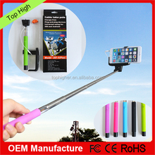 2015 popular velvet bag packed colorful mobilephone selfie monopod with CE & RoHS & FCC marks