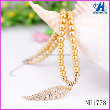 Alibaba Website Gold Beaded Angel Wing Necklace Fashion Rhinestone Angel Wing Necklace