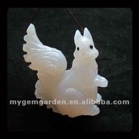 Carved White Agate Squirrel Pendant