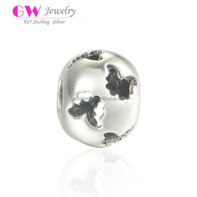 Low MOQ 925 Sterling Silver Good Luck Custom Charms Round Beads With Hollowed Butterfly T172
