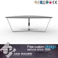 Contemporary living room furniture glass metal coffee table set