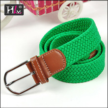 Trending hot products 2015 china Manufacturers elastic woven belt orange with Brown leatherr Tabs