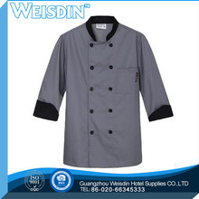 oem long sleeve white color stud buttons executive chef coat chef jacket chef uniforms