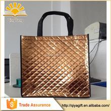 Customized plain fitness decorative shopping foldable laminated non woven metallic bag