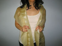 Laos Silk Sheer Organza Scarf / Shawl w Tassels - Yellow