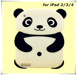 Hot Selling Cute 3d Panda Design Soft Silicone Cover for iPad case Silicone