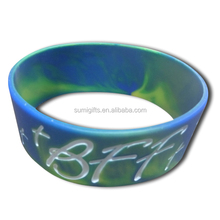 debossed custom silicone bracelets with swirl/ tye dye colors