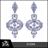 Fashion Italy Designs New Model Earrings Woman 925 Sterling Silver White Gold Plated Lantern Jewelry