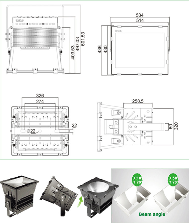 High Quality 220v 1000w Led Stadium Projecteur Replace
