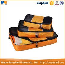 factory price orange S+M+L 3pcs set suitcase packing cubes for travel