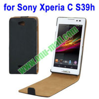 Fashionable Black Vertical Flip Leather Case for Sony Xperia C S39h