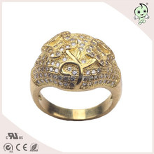 Engraved The Flower And Diamond Plated Gold Ring