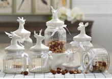 Airtight glass storage jar with ceramic lid