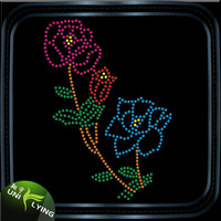 Hot Fix Heat Transfer Rhinestones Motif Flower Design