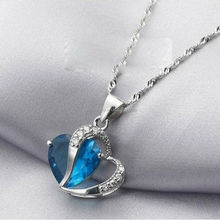 New Arrival Lovers Aquamarine Heart Shaped Silver Plated 18 Inch Crystal Pendant
