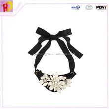 Black ribbon and PU leather epoxy resin necklace jewelry making