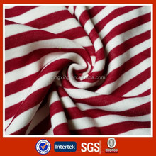 Yarn dyed knit white red stripe fabric