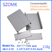 1.2*3*4inch good looking DIY silver aluminium enclosure and pcb aluminum box as electronical aluminum housing from Shenzhen