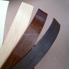 hot items pre-glued 0.45mm wood grain pvc edge band for furniture