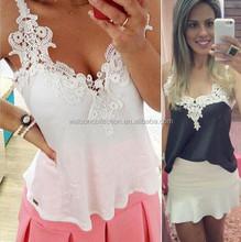 White Lace Blouses Femininas 2015 Women Blusas Lady Patchwork Shirts Sexy Chiffon Blouse Spagetti Strap Vest Tops Blusas XXXL