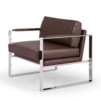 french style home furniture modern living room leather armchair with metal legs