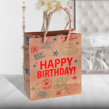 Custom brown kraft paper gift bag Happy Birthday for wholesale