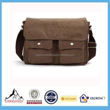 Best Selling Canvas Messenger Bag Leather Satchel School Military Shoulder Bag