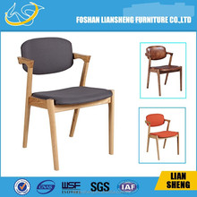 model: A012 chair design 2015 new style Wholesale Modern Plastic Dining Room Chair with Solid Wood Legs