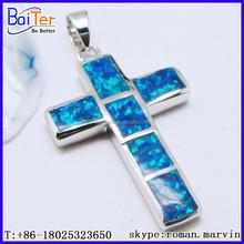 Fabbrica opale!! Custom 925 sterlina argento creato gemme blu opale ciondolo croce ingrosso