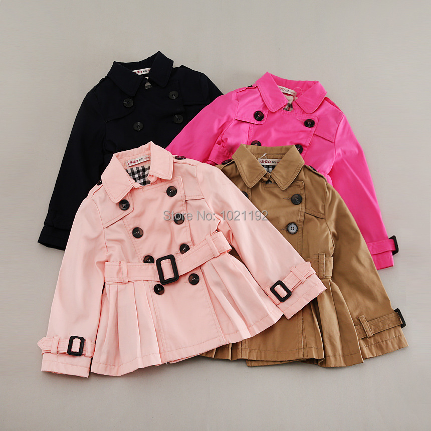 Children's children's girls blouse pleated coat double-breasted coat in autumn in Europe and America