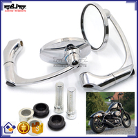 BJ-RM-070 Universal Round Aluminum Chrome Motorcycle Mirrors For Street Bike with M10 Adapter