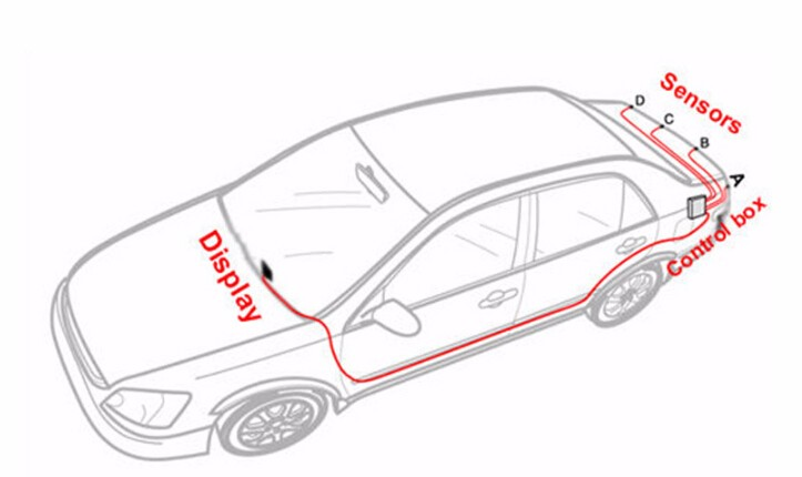 car 12v abs led reversing radar sensor parking sensor with bibi sound human voice