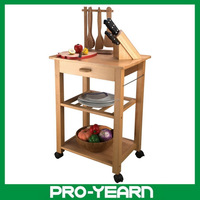 Wooden Kitchen Serving Trolley Service Cart with 3 Tiers and 1 Food Keeping Drawer and 4 Casters for Sale