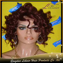 Premium quality hair color 99J curly hairpiece wigs for men
