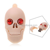 8GB Popular Human Skull Shaped USB Flash Drive Memory Silicon U Disk (Yellowish Pink)