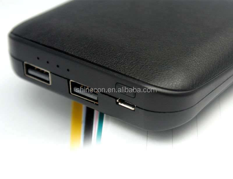 Hot selling 2 USB 2.1A output leather Cover 10400mah Power Bank for iphone4/5/6