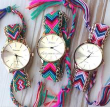 Handmade Braided Friendship Watch/ Ladies Geneva Woven Bracelet Watch