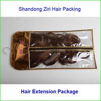 plastic pvc hair extension packing bag plastic human hair bag/hair weave packaging