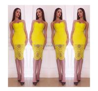 Sexy Fashion Spaghetti Strap knee-length women fashion yellow blue white lace dress summer beautiful mature women bandage dress