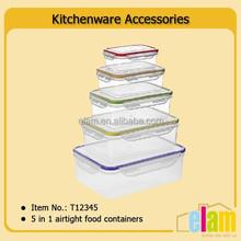 5 in 1 food storage plastic airtight plastic container set