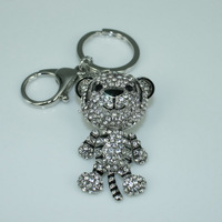 K107 Silver keychain Free shipping Key ring China Tiger Key chain with crystals Animal ring holders Rhinestone Key chain charm
