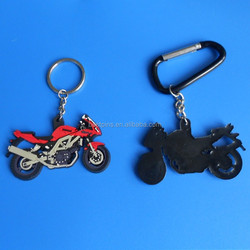 customize black red rubber motorbike keychain motorcycling PVC keyring