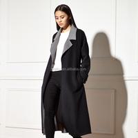 Elegant black lady style 100% woolen Long coat Winter wear warm wool coat for women
