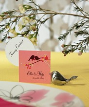 Brushed Silver Love Birds Place Card Holders wedding favors for guests