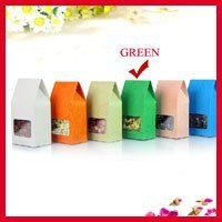 High Quality 8cm*15.5cm+5cm Bottom *140Mciron Green Stand Up Bags Kraft Paper Box Food Snack Gift Pouches