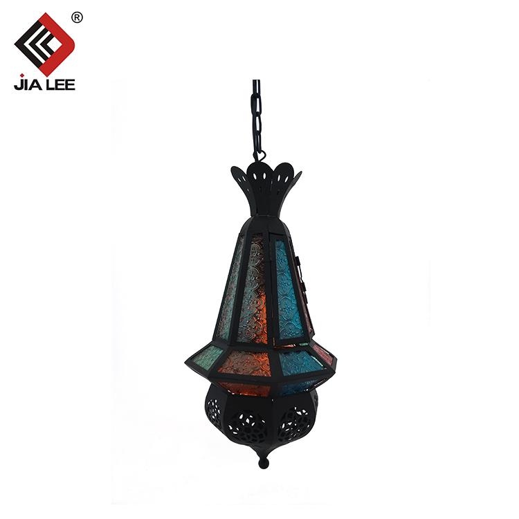 Nuevos <span class=keywords><strong>productos</strong></span> de mesa negro de estilo marroquí lámpara de color grabado de vidrio