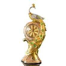Metal craft fashion peacock clock ornaments